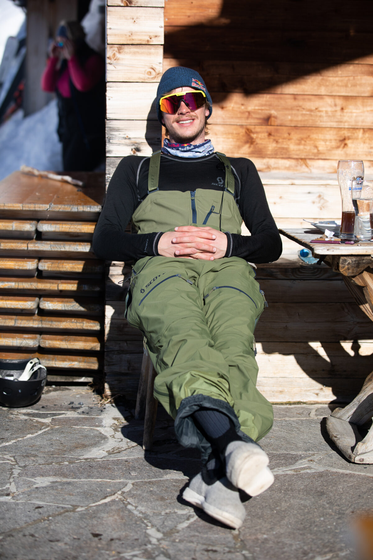 Fabian Lentsch relaxes after skiing big mountain dream lines